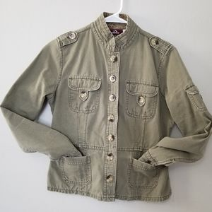 Jordache military style green jacket